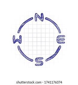 Simple compass, four direction, outline design. Hand drawn sketched picture with scribble fill. Blue ink. Doodle on white background