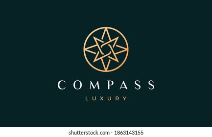simple compass logo concept with modern and luxury style