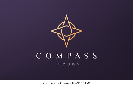 simple compass logo concept in a modern and luxury style with gold color