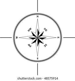 Simple compass rose (wind rose) in the style of historical maps. Clear shapes.