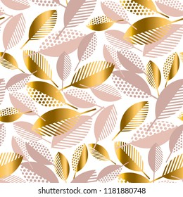 Simple concept luxury geometric fall leaves seamless pattern. Pastel rosy and gold concept autumn elegant element for card, invitation, banner, web, banner, header, page, cover, billboard, brochure.