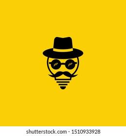 Simple concept of a wise man's symbol, mafia hat, mustache and glasses