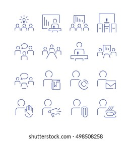 Simple conference icon set. Spot icons. Navigation room sign. Modern vector plain simple thin line design icons and pictograms set.  Vector illustration.