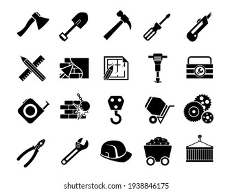 Simple construction icons set. Universal construction to use for web and mobile UI.