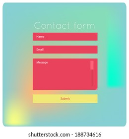 Simple contact us form flat modern templates. Vector template for smartphones, tablets, web sites, games. Graphic user interface.