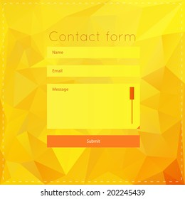 Simple contact us form templates. Vector template with yellow polygonal background. For ui, web games, tablets, wallpapers, and patterns.