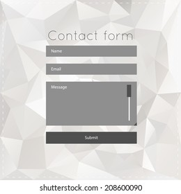 Simple contact us form templates. Vector template with white polygonal background. For ui, web games, tablets, wallpapers, and patterns.