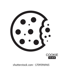 Simple cookie icon vector illustration. Oatmeal sugar bitten cookies silhouette or logo. Round black and white biscuit symbol isolated