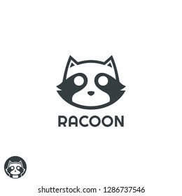 simple cool Racoon head logo design inspiration