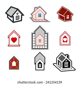 Simple cottages collection, real estate and construction theme. Houses  illustration with a heart symbol