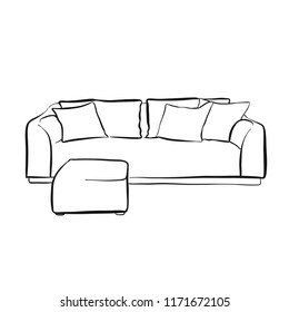 Simple Couch Outline Drawing Handdrawn Vector Stock Vector Royalty