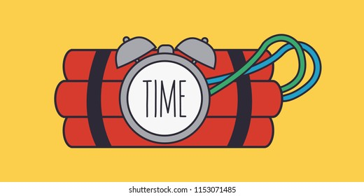 simple cover red terror Dynamite. time isolated. exploding Bomb & explosive vector & Clock Timer flat design. countdown explotion cartoon. attack icon or symbol for logo. reminder tnt & clean art wire