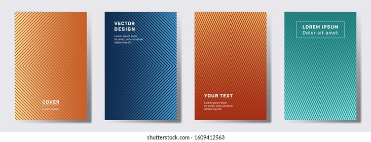 Simple cover templates set. Geometric lines patterns with edges, angles. Halftone backgrounds for catalogues, business magazine. Line stripes graphics, title elements. Cover page templates.