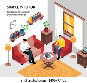 Simple cozy apartment room interior design with sofa armchair coffee table bookshelves tenants isometric view vector illustration
