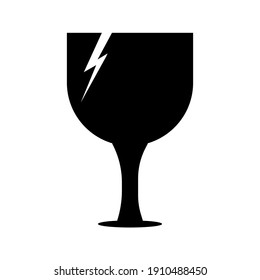 Simple cracked drinking glass icon on white background