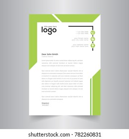 Simple creative & Clean green Color Vector Letter Head Template with standard sizes. corporate identity letterhead