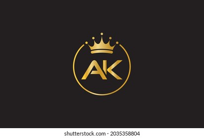 Simple and creative logo design by AK letter with crown