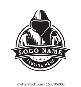 Simple creative modern Man in Hoodie Logo design template suitable for company logo, print, digital, icon, apps, and other marketing material purpose