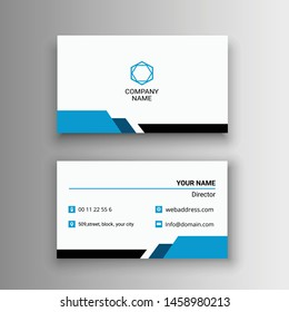 simple creative modern unique business card design vector illustration white blue
