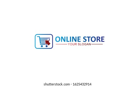 simple creative unique trolley and cursor logo template vector icon, for online shop, store or market