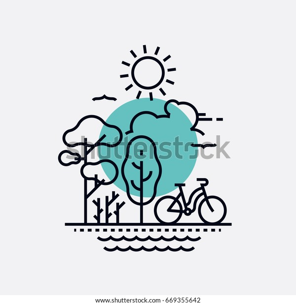 Simple creative vector concept on park, nature and outdoor activity with primitive geometric flat line trees, bicycle, sun, birds and water. Fresh air summer recreation, weekend in the park