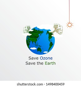Simple and creative World ozone day concept. Beautiful and simple element. Abstract and minimalist design.