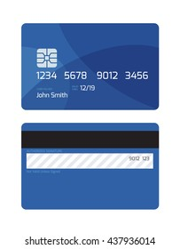 Simple Credit Card Illustration. Two Sides.