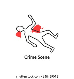 simple crime scene icon isolated on white background. concept of zone or area of offense and deadly accident and fatal outcome. linear flat style trend modern logo graphic art design