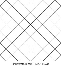 Simple cross grid paper. Cell seamless pattern. Background diagonal squared grating. Criss cross line. Geometric checkered texture. Repeated pattern crisscross net. Repeating square mesh grid. Vector