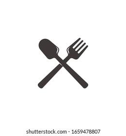 simple cross spoon fork overlapping design logo vector