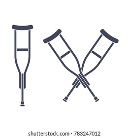 Simple crutch silhouette drawing and two crossed crutches logo. Isolated vector illustration.