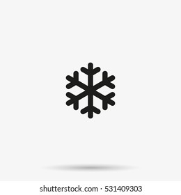 Simple crystal snowflake vector icon isolated on white background. Winter symbol. Snow pictogram.
