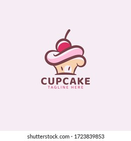 simple cupcake logo vector graphic for any business.