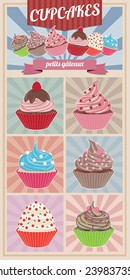 Simple cupcakes set illustration