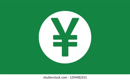 Simple Currency icon Banknote sign in green : Japanese Yen JPY bill vector illustration