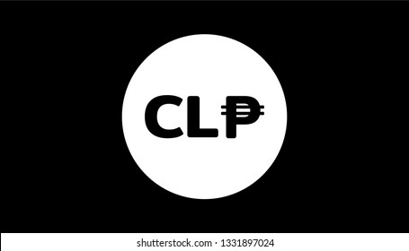 Simple Currency icon Banknote sign in Black and white : Chile's Chilean peso CLP bill vector illustration