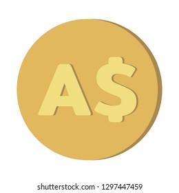 Simple Currency money symbols icon : Australian Dollar AUD coin vector illustration