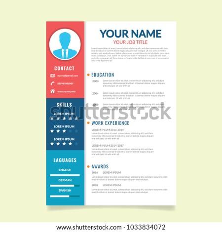 Simple Curriculum Vitae Template Stock Vector Royalty Free