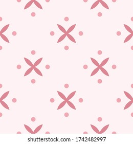 Simple Cute Batik Indonesia Pink Monochrome Seamless Pattern Background Wallpaper. Traditional Decorative Ethnic elements. Textile, Fabric Pattern.