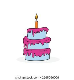 simple cute birthday cake vector illustration