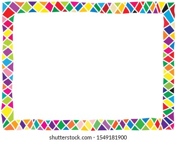 simple cute bright colorful doodle styled horizontal border consists of triangle and diamond shape tile arranged around the frame