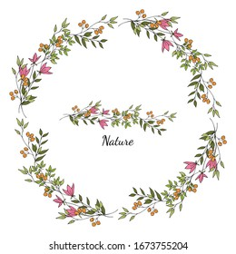 Simple cute colorful flowers in doodle style. Decorative wreath. Pattern brush. Isolated object on a white background. Hand drawing.