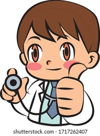 Simple and cute Doctor vector Illustration