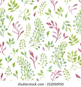 Simple and cute floral seamless pattern.Green and violet spring branches and leaves painted with watercolor.