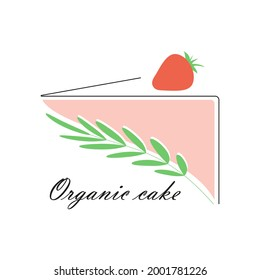 Simple Cute organick cake slice with strawberry and green branch.Food icon,vector illustration in minimalistic stile on white background.For patisserie logo,lable,menu,poster,insta highlights,others.