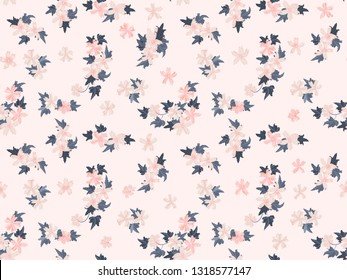 Simple cute pattern in small beauteous flower of mallow. Liberty style. Floral seamless background for textile or book covers, manufacturing, wallpapers, print, gift wrap and scrapbooking