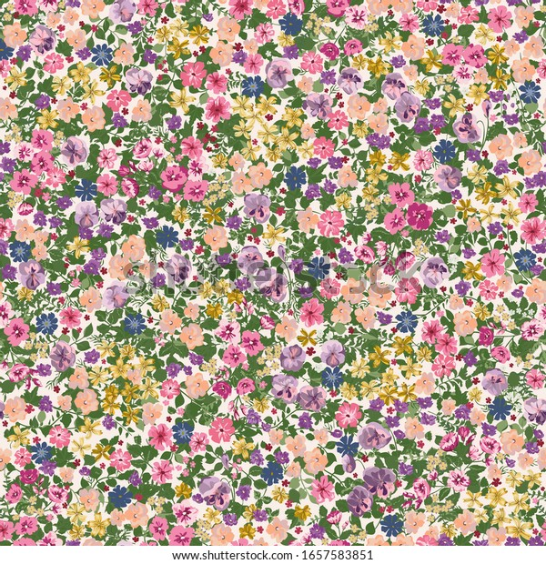 Simple cute pattern in small flower. Liberty style. Floral seamless background for textile or book covers, manufacturing, wallpapers, print, gift wrap and scrapbooking.