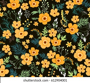 Simple cute pattern in small flowers. Liberty style. Floral seamless background for fashion prints. Yellow Buttercups flowers. Black background.