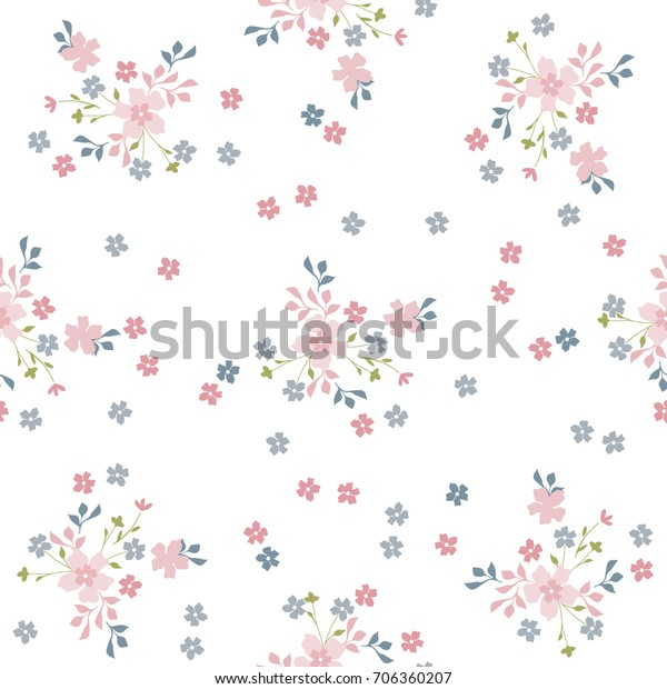 Simple Cute Pattern Small Flowers Floral Stock Vector Royalty Free