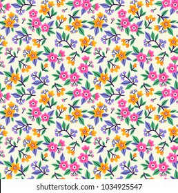 Simple cute pattern in small pink and yellow flowers on white background. Liberty style. Ditsy print. Floral seamless background. The elegant the template for fashion prints.